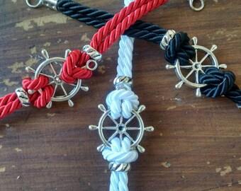 Bracelet men, women, sailor style, with lanyard and rudder