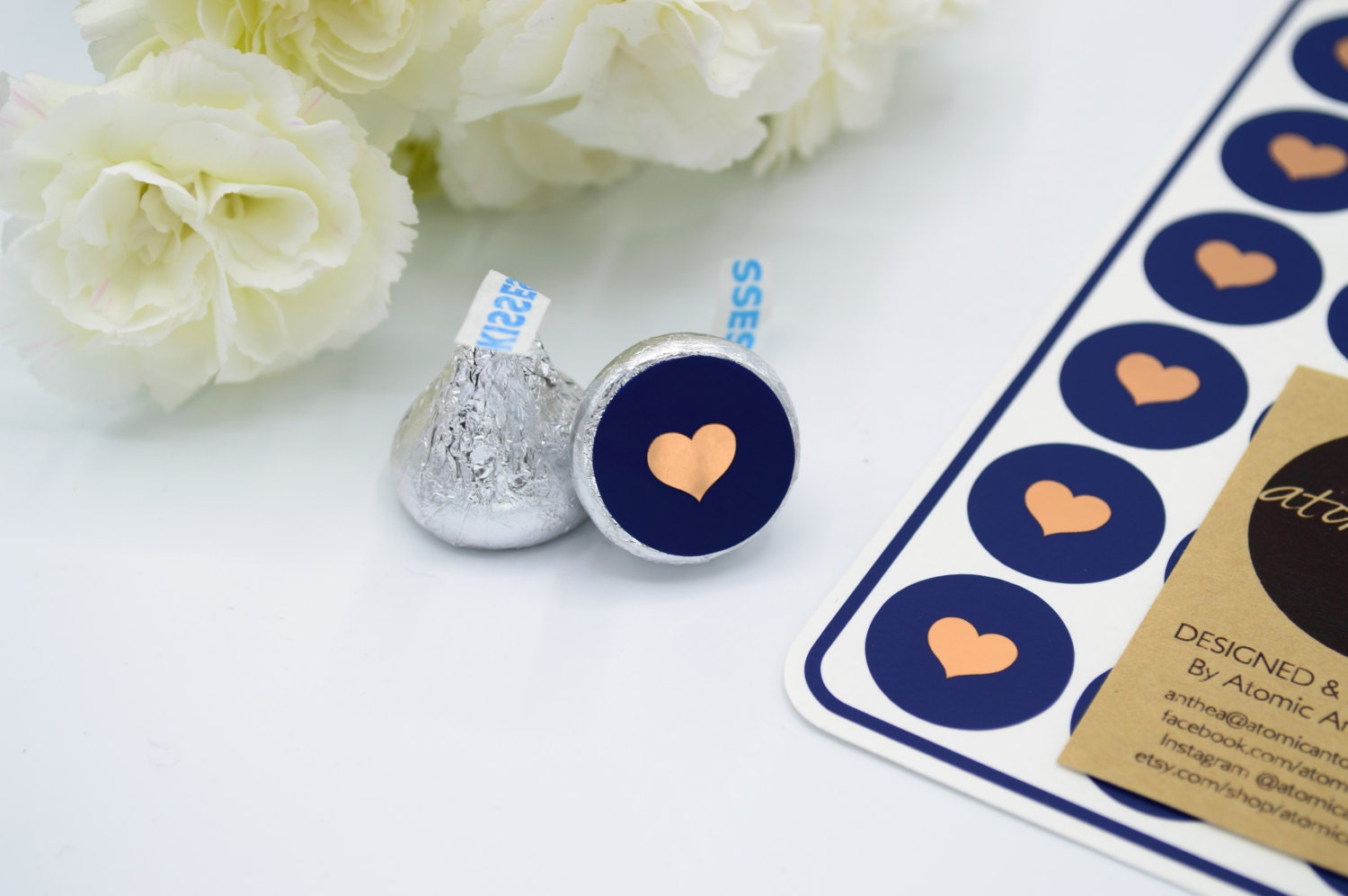 24 Navy Stickers with Rose Gold Copper Foil Hearts - Handmade ...
