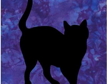 Black Cat Silhouette Quilt Applique Pattern Design