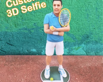 Father's Day Gift. 3D Selfie, Man Tennis Player, Custom made, 3D Printed Figurine.