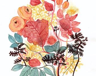 Spring No. 1 archival print of original painting, modern, contemporary botanical, flowers, gardening