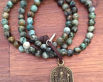African Turquoise Shiva Aum Prayer Beads Mala Bracelet Om