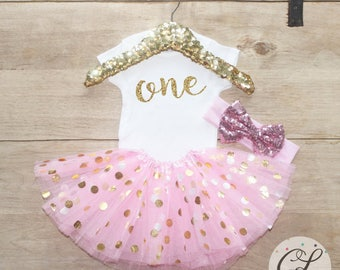 First Birthday Outfit / Baby Girl Clothes 1 Year Old Tutu Outfit One Birthday Set 1st Birthday Girl Outfit Baby Tutu Bow Outfit Set 053