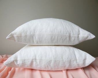 READY TO SHIP Set of 2 Linen Pillow covers. Queen size.  White pillow covers. Bed Pillows. Natural linen pillow covers.