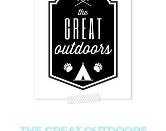 Rustic Nursery Wall Art, Outdoor Nursery, Camping Print, The Great Outdoors Print, Black and White Nursery, Woodland Nursery Art, Cabin Art