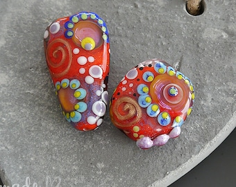 Handmade lampwork beads |   focal  | set  |  IN RED |  free-formed  |  SRA  |  artisan glass |  Silke Buechler