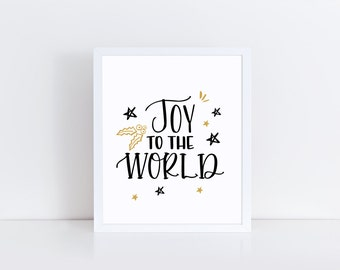 Joy To The World - Christmas Wall Art - Gold Christmas Art - Christmas Quote Art - Christmas Carol Art - Christmas Print