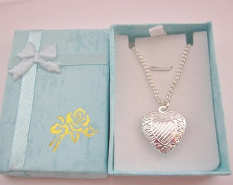Girls Heart Photo Locket Necklace on Silver Plated Chain, Gift for Daughter, Niece, Granddaughter, Kids Childrens Jewellery Gifts