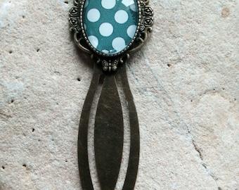 1316 - bookmark - polka dots, bronze