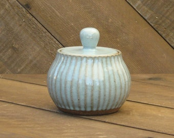 Carved Jar - Sugar Jar - Ceramic Jar - Celadon Glaze - Light Blue Jar - Wheel Thrown - Reduction - Go Play Clay - Guiliotis - Made to Order