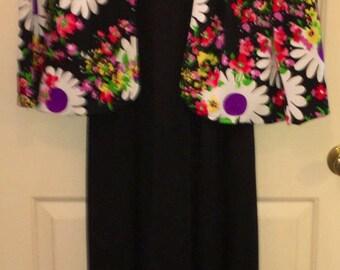 Vtg Floral & Blk Turtleneck Dress w/ Floral Jacket