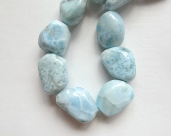 "Caribbean Water Blue Larimar Freeform Nuggets 15"" strand M2930"