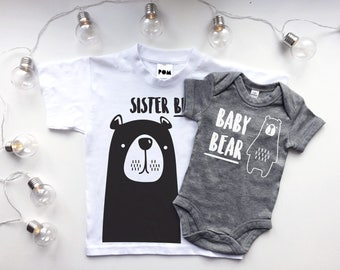 Sister Bear T-shirt & Baby Bear Bodysuit Cute Matching Set - POM CLOTHING