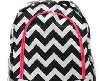 Personalized  Girls CHEVRON Backpack  Black CHEVRON