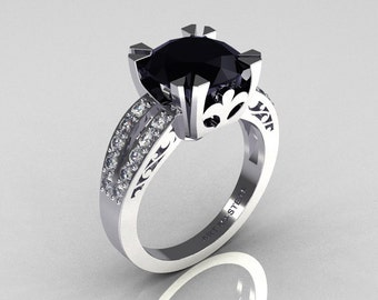 Modern Vintage 18K White Gold 3.0 Carat Black and White Diamond Solitaire Ring R102-18KWGDBD