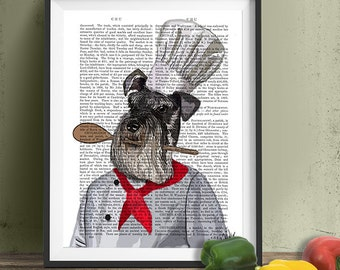Funny kitchen art - Schnauzer Chef gift for cook gift for chef Kitchen print kitchen poster miniature schnauzer print schnauzer art Gourmet