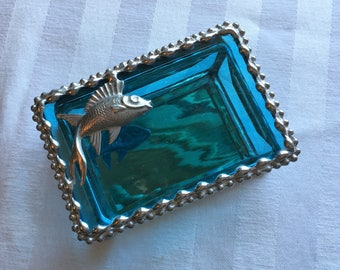 Stained Glass Jewelry Box|Fish|Fish Jewelry Box|Fish Trinket Box|Turquoise|Jewelry|Jewelry Storage|Fish Design|Handcrafted|Made in USA