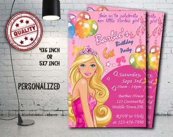 Barbie Invitation, Barbie Birthday, Barbie Party, Barbie Crad, Barbie Printable, Barbie Invitations, Barbie, Girl Invitation, Girl, Girls