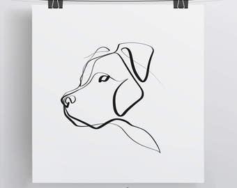 Pit Bull Art | Pit Bull Print | Pit Bull Gift | Minimal One Line Art | Pitbull Art Print | Dog Print | Simple Dog Art | Pet Print | Dog Love