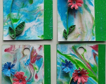 Set of Four 3D Gift Tags - Marbled