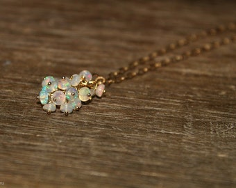 Genuine Fire Ethiopian Opal Necklace, Ethiopian Opal Jewelry, Welo Opal, Dangle Cluster Necklace, October Birthstone,Sterling Silver or Gold