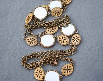 62 Inch Long Mirrored Stations Necklace Vintage