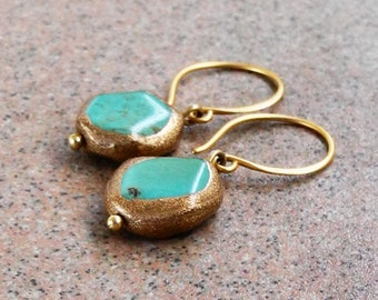 Vermeil and Turquoise Earrings - Gold and Turquoise Earrings - Gold Edged Turquoise -  Vermeil Turquoise Earrings - Roca Jewelry Designs
