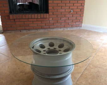 Glass top Car Rim Coffee Table