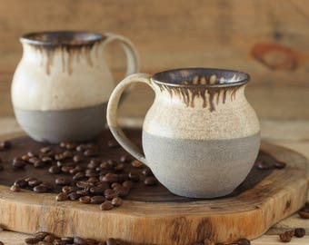 Ready To Ship, Pair Ceramic Mug, Rustic Mug, SET OF TWO, 2 Stoneware Mug, White Black Cup, Romantic Cup, Soup Mug, Large Mug, Valentine Cup