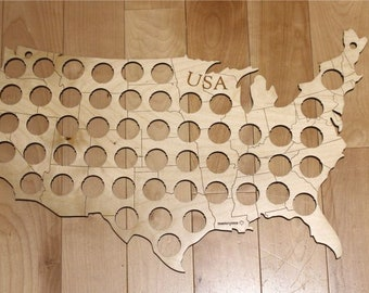 USA Beer Cap Map, 52 Beer Cap Holes, Laser Cut, Baltic Birch, Masterpiece