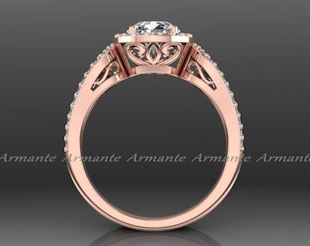 Rose Gold Halo Engagement Ring, 14k Rose Gold Diamond And Forever Brilliant Moissanite Filigree Ring Wedding Ring Re00012r
