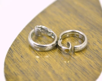 1980s Silver Hoop Clip Earrings