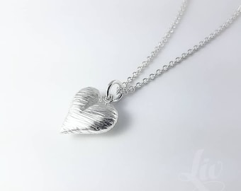 Heart Necklace, Sterling Silver Heart Necklace, Handcrafted Sterling Silver Textured Heart Necklace, Silver Heart Necklace, Heart Jewelry