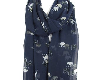 Clothing Gift Elephant Scarf Shawl Animal Scarf Infinity Scarf Elephant print Scarf Travel Gift    Wife Gift For Women Gift For Her