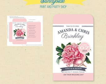 Printable Pink Peony Seed Packet Favor  - DIY - Bridal Shower / wedding seeds wedding favor printable