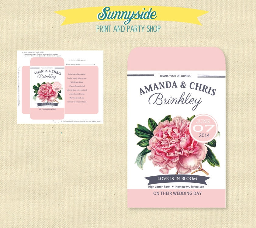 This listing is for a personalized PDF to print and create your own Peony seed packets for your special event. Customized with a beautiful vintage pink peony il
