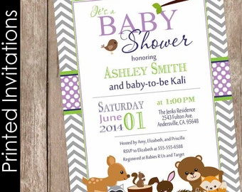 Printed Woodland Forest Baby Shower Invitation, forest and friends, purple, gray, chevron, typography (FREE ENVELOPES)