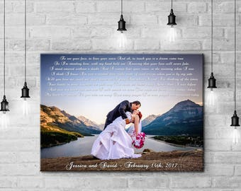Personalized gift for husband, personalized wedding photo, personalized canvas print,  canvas art made with your photo and text/vows/lyrics