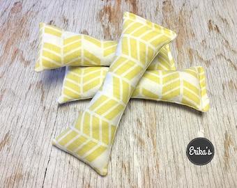 Cat Kicker Toy with organic catnip - pastel yellow herringbone pattern