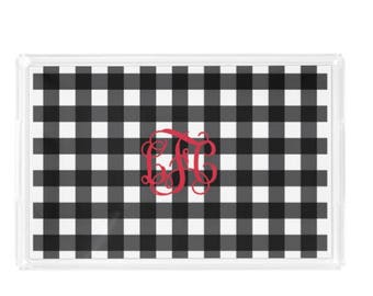 Personalized Acrylic Tray - 3 Sizes-  Gingham Tray with Handles include Personalization or Monogram - Decorative Vanity Tray - Party Tray
