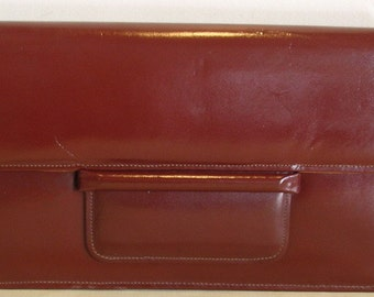 Gorgeous vintage brown leather clutch , evening bag. '70