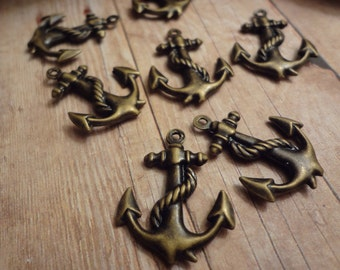 6pcs of Antiqued Brass Light weight Double-sided Ship Anchor Charms Pendants Drops Q59-Wq