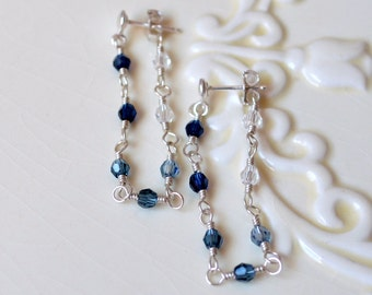 Blue Crystal Earrings, Sterling Silver, Chain and Post Earrings, Indigo Montana Denim Swarovski Beads, Dangle, Wire Wrapped Jewelry