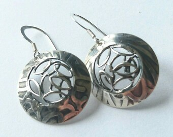 sterling silver handmade embossed domed earrings, hallmarked in Edinburgh