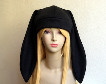 Fleece Rabbit Hat / SOLID BLACK Beanie Style with Long Bunny Ears Cute Anime Cosplay Rabbit Ears Usagi Ears Kawaii Japanese Fashion