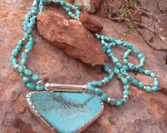 """Campo Frio Turquoise """"Butterfly"""" Pendant on Matching Double Strand Necklace"""