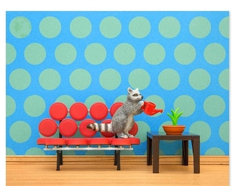 30% OFF SALE Mid century modern animal art print with a raccoon: Going In Circles