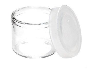 "DabJars : 10 x Glass 'no-neck' jars with pop top silicone cap * 6ml *  (1"" x .75"" / 24mm x 22mm)"