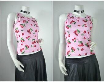 90s millenial cherry print pink tank shirt