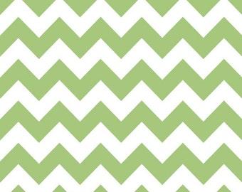 Green Chevron Fabric - c320 30 Green and White Fabric - Medium Chevron Riley Blake Basics - Cotton Chevron Sewing Fabric - Quilting Cotton